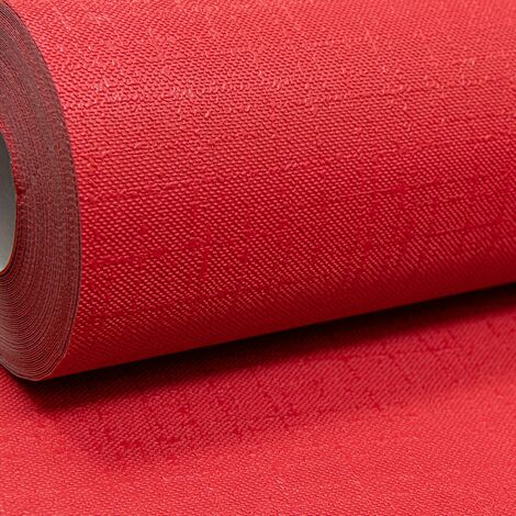 Rasch Plain Bold Red Textured Thick Paste the Wall Free Match Vinyl Wallpape