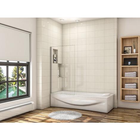 écran de baignoire 40x130cm pare-baignoire fixé en 6mm verre anticalcaire