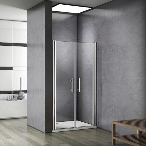 Porte de douche battante pivotante 6mm verre anticalcaire installation en niche