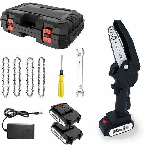 Mini moto sega elettrica portatile con 2 batteria 4 catene 1 caricatore