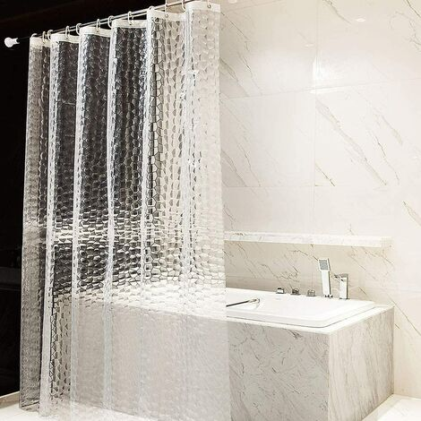 Rideau de Douche 180x200cm 100% EVA Semi-Transparent Imperméable Anti-moisissure, sans PVC, 0.2mm D'épaisseur 3D Eau Cube avec 12 Anneaux Salle de Bain Rideau pour Salle de Bains