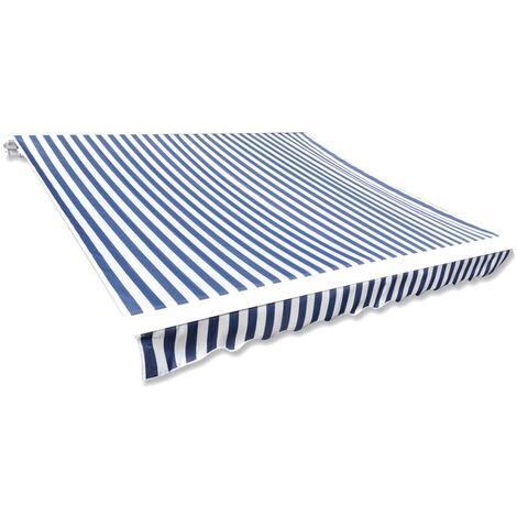 vidaXL Markisenbespannung Canvas Blau & Weiß 3 x 2,5 m (ohne Rahmen)
