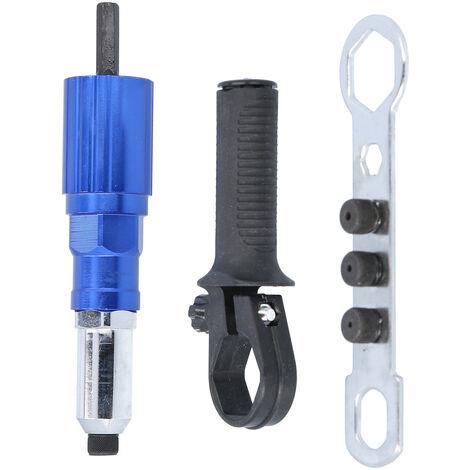 Kit adattatore per pistola rivettatrice elettrica, inserto per rivettatura pistola a batteria senza fili Set trapano elettrico a mano,Tipo,blu - Tipo,blu