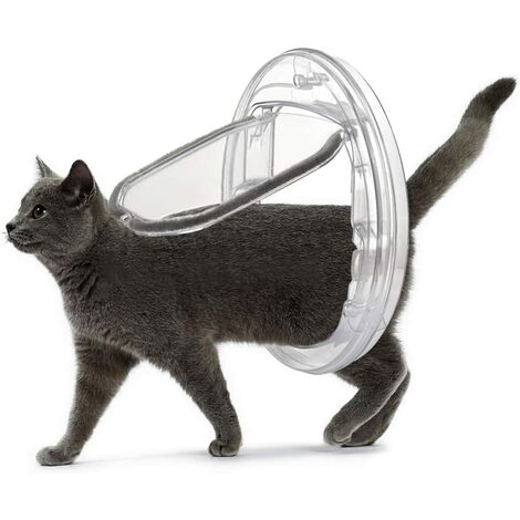 LITZEE 4-Wege-Verriegelung Katzenklappe matt, Katzenklappe für Katzen und kleine, einfach zu installieren und zu verwenden, geeignet für Glas, Holz, Ziegel, Tür und Fenster (transparent)