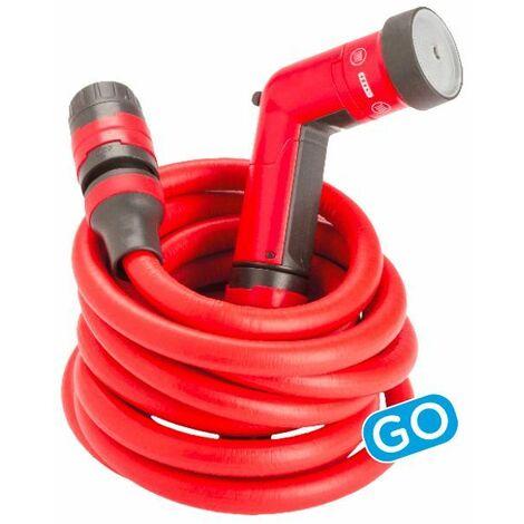FITT YOYO GO 30m, Tubo Acqua da Giardino Estensibile per Irrigazione con Pistola Multigetto e Zainetto da Trasporto, Rosso