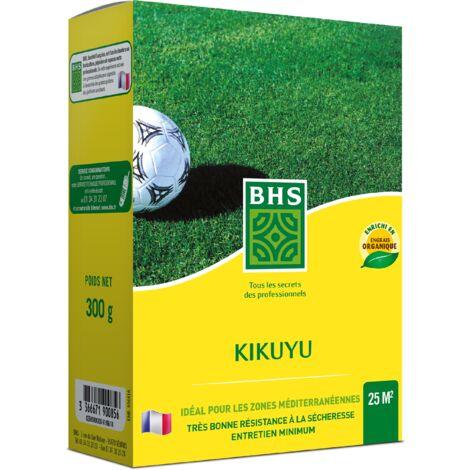 BHS KIK300 | 300g | 25 m² | Kikuyu | Zones Méditerranéennes | Résistant aux Fortes Chaleurs | Bonne Résistance aux Piétinements |