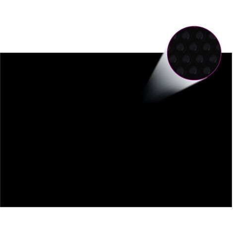 Cubierta solar de piscina de PE rectangular flotante 6x4m negro - Negro