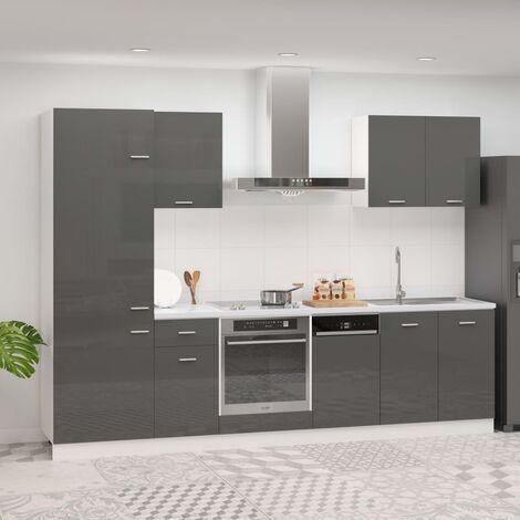Juego de muebles de cocina 7 piezas aglomerado gris brillo - Gris