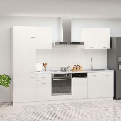 Juego de muebles de cocina 7 piezas aglomerado blanco brillo - Blanco