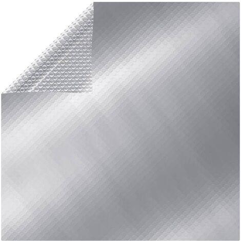 Cubierta solar de piscina flotante PE rectangular plata 10x5 m - Plateado