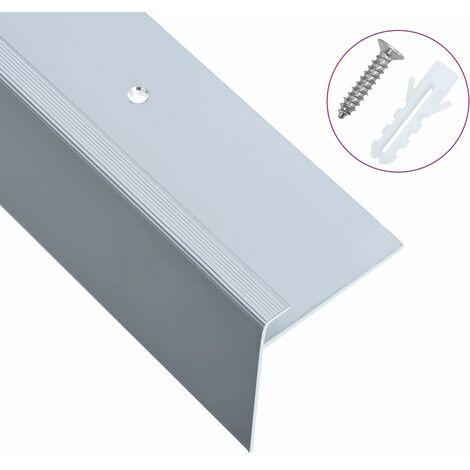 Perfil de pelda?o forma de F 15 uds aluminio plateado 100 cm - Plateado