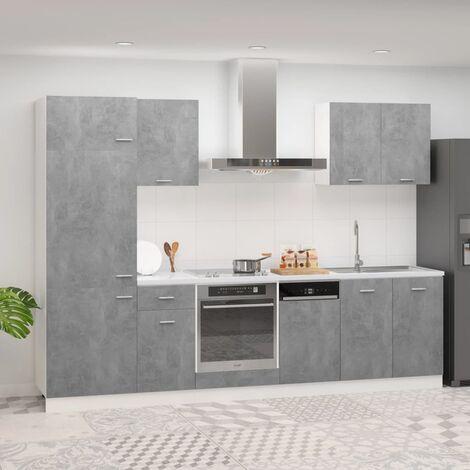 Juego de muebles de cocina 7 piezas aglomerado gris hormigón - Gris