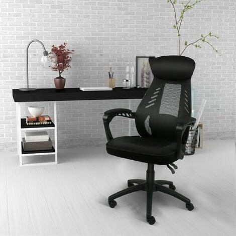 Chaise de bureau Dossier Haut grillagée Chaise à hauteur réglable Soutien lombaire