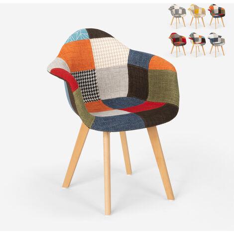 Sedia poltrona patchwork design nordico salotto cucina studio Herion