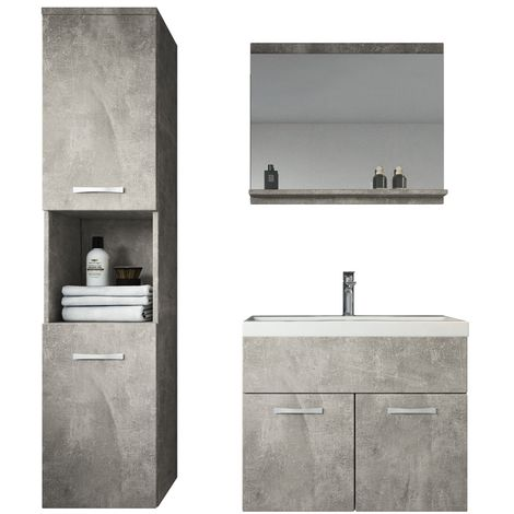 Bathroom furniture set Montreal 60cm basin concrete (grey)- Storage cabinet vanity unit sink furniture