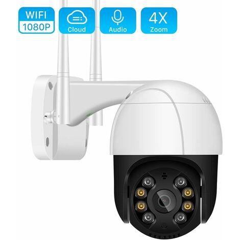 LITZEE HD 1080P Ptz WiFi IP Caméra Speed Dome Caméras Extérieur 4X Zoom Numérique AI Détection Humaine Caméra sans Fil H.265 P2P Onvif Audio Caméra CCTV De Sécurité 2Mp 1080P Ajouter 32G
