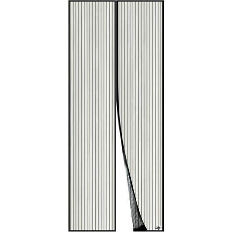 LITZEE Moustiquaire Magnétique Pour Porte, Maille Ultra Fine, Aimants Puissants, Kit d'Installation Complet, Bande Adhésive et Auto-Agrippante Incluse - 120x210cm, Noir