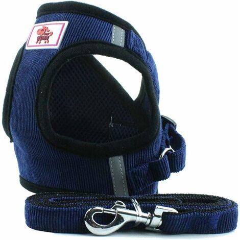 LITZEE Harnais doux Gilet da addestramento per cani in tessuto a rete, pettorina per cuccioli, gatti, piccoli animali domestici PS042 (L, blu scuro)