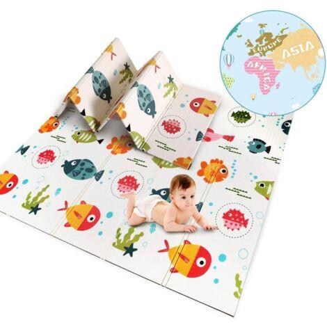 Tapis de Jeu Bébé,Tapis d'éveil Enfant Pliable Double Face Imperméable à l'eau Matériau XPE Non Toxique, Taille 200x180x1 cm