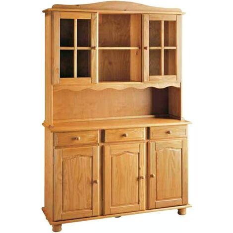 Alacena 3 puertas en pino macizo, talla 130 x 197 x 42cm, serie alteal miel
