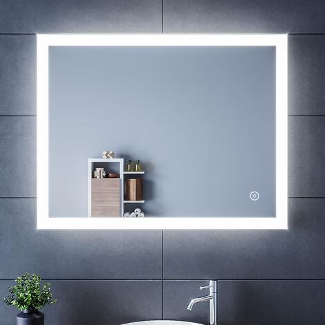 SIRHONA Espejo Baño 90x70cm Espejo de Baño Led Espejo de Pared con Iluminación Luz LED Espejo de Luz de Baño con Interruptor Táctil,Espejos Pared con la Función-Antiniebla