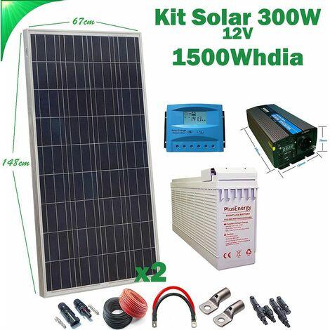 Kit Solar 12v 300w Hora Inversor 1000w