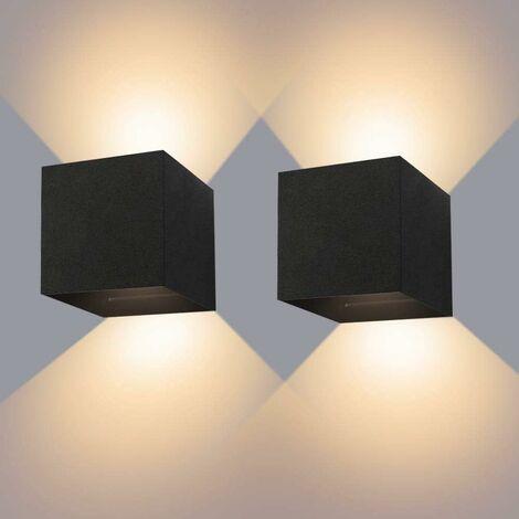 2 Stück 12W Innen- / Außenwandleuchte IP65 Wasserdichte LED-Wandleuchte Einstellbare Downlight 3000K Warmweiße Wandleuchte für Passage Wohnzimmer und Schlafzimmer