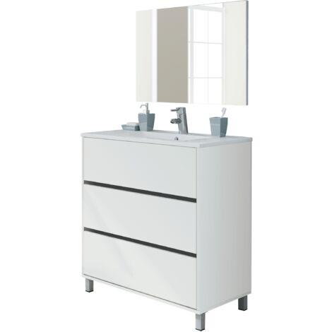 Mueble de lavabo Kalma con tres cajones con guías metálicas, lavabo incluido, 90x81,5x46,5 cm(alto x ancho x profundo),color Blanco alto brillo