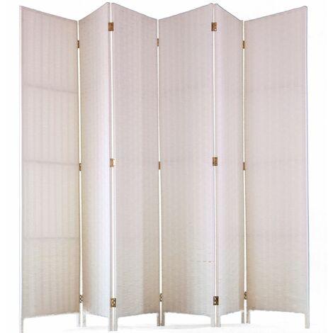 Biombo de fibras naturales de 6 paneles, color blanco - Dim : A 180 x A 270 cm