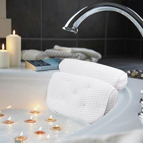 Perle rare Coussins de bain, oreillers de luxe pour le bain et le spa avec technologie 4D Air Mesh et 7 ventouses