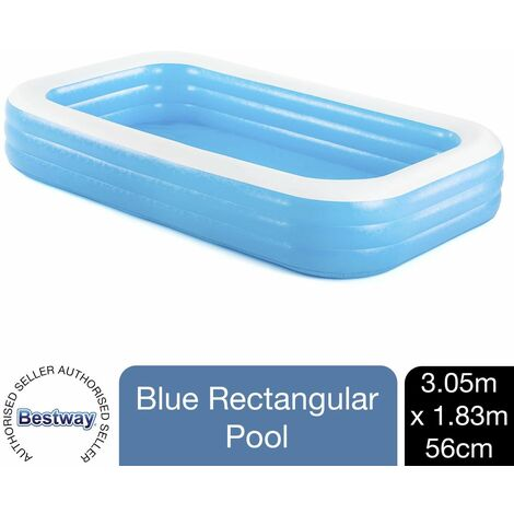 "Bestway Inflatable 10' x 6' x 22""/3.05m x 1.83m x 56cmFamily Rectangular Pool"