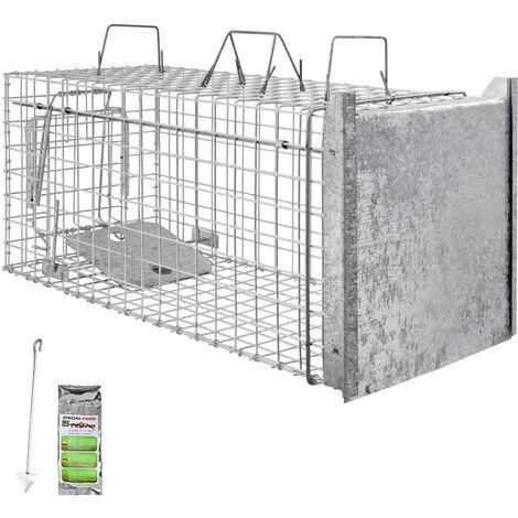Piège à Animaux Humaine Animal Vivant Piège Cage 80 x 34 x 34 cm Chat Renard Raton Castor Laveur Petigi