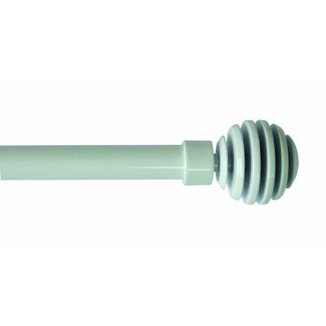 L250 cm Tringle autoblocante extensible embouts ronds Blanc patin/é
