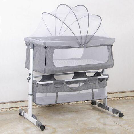 BATHRINS®Lettino per bambini - dalla nascita - misto bebè - grigio 92 * 58 * 70-87 cm