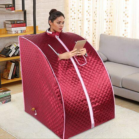 BATHRINS®Mobile Sauna Box,Termostato telecomando box sauna,box sauna secondo norme europee, Portable Steam SPA a casa,grande rosso