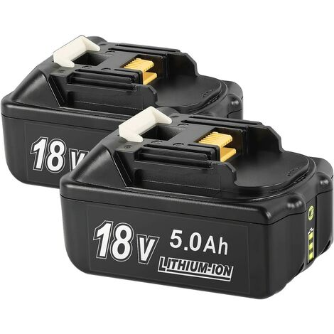 (pack de 2) Bsioff Batterie de remplacement BL1850B 18V 5.0Ah compatible avec Makita BL1850B BL1830B BL1840 BL1840B BL1850 BL1850B BL1860B BL1890 BL1815 BL1825 BL1835 BL18 avec voyant lumineux