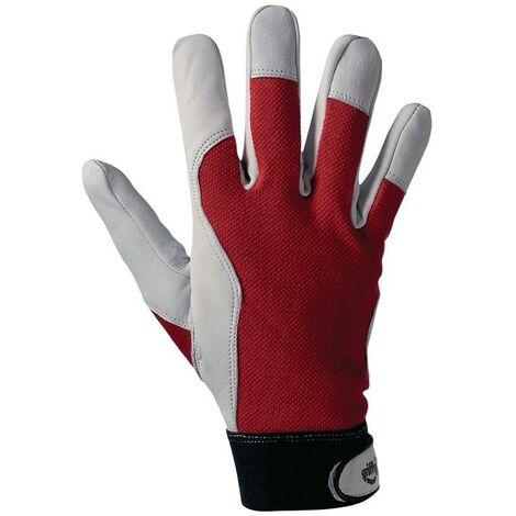 Leipold+Döhle Handschuhe Griffy Gr.8 rot/naturfarben Ziegennappaleder/Interlock auf SB-Karte