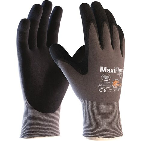ATG Handschuhe MaxiFlex® Ultimate™ 34-874 Größe 10 grau/schwarz EN 388 PSA-Kategorie II