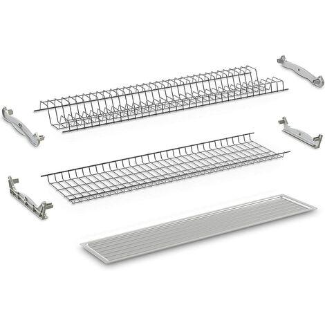 Compagnucci Kit Scolapiatti in acciaio plastificato grigio per mobile da 900 mm
