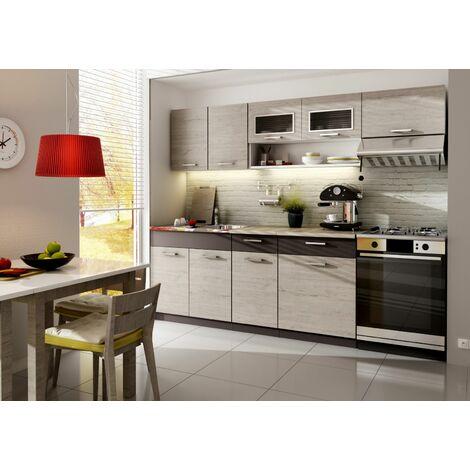 Cocina completa 260 cms color madera y marron, encimera y zocalos incluidos, ref-35a