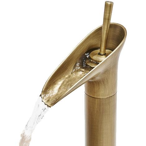 Rubinetto oro miscelatore vintage bagno canna alta becco cascata ottone DR T2020