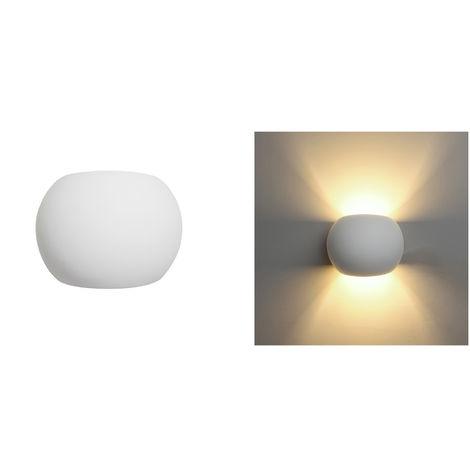 Applique lampada interno tondo gesso bianco moderno doppia luce Dr GS-5017