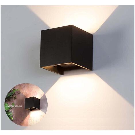 Applique lampada led parete 10w luce calda quadrato orientabile nero effetti