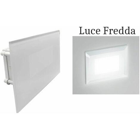 Segnapasso led 4w luce fredda rettangolo bianco vetro interno faretto incasso