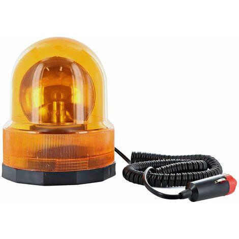 Segnalatore lampeggiante di emergenza effetto rotante 12V base magnetica
