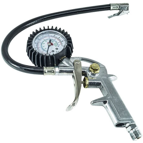 Pistola manometro compressore gonfiaggio aria pneumatico gomme innesto filettato