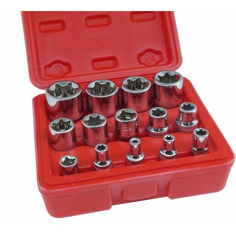 """Set 14pz chiavi a bussola torx attacco 1/4"""" 3/8"""" 1/2"""" femmina da 4-24mm bussole"""