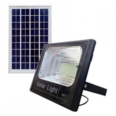 Faro led 200w con pannello solare luce fredda crepuscolare telecomando esterno