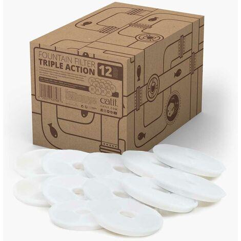 Catit filtro de triple acción para fuentes, 12 uds