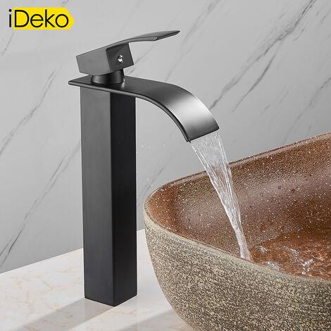 iDeko® Robinet de lavabo Mitigeur salle de bain cascade Noir vasque evier haut